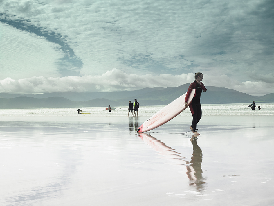 Surfing at the Inch Beach Ireland